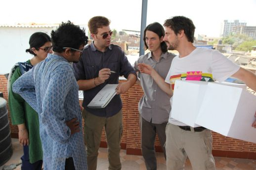 Discussions with Sameep Padora (sP+A) (center) who helped conceive the structural systems for the walls of the new office.