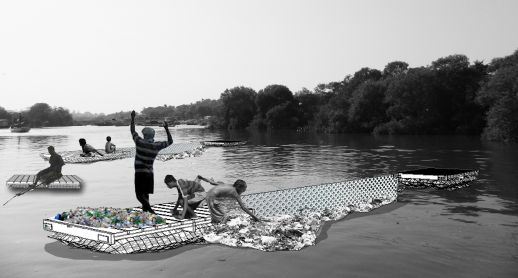 Plastic filters in the creek: floating pods attached with locally made nets act as plastic filters allow easy collection points of plastic waste