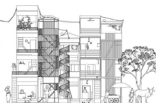 Indian Streetscape - house designed by contactors from Dharavi - illustration by Yang Yang @ urbz