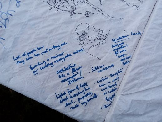 Notes on the tablecloth during Yehuda's talk at Delta V workshop