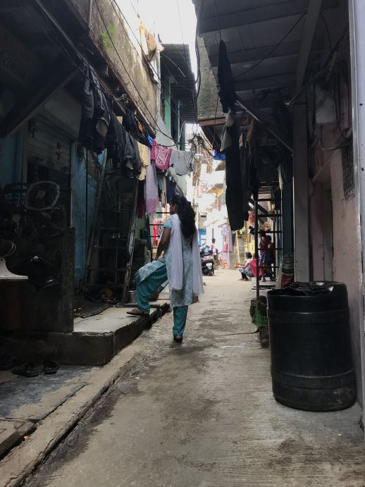 The street facing Radha's home