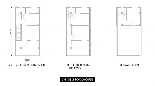 Floor plans of Ching's tool house in Shenzhen