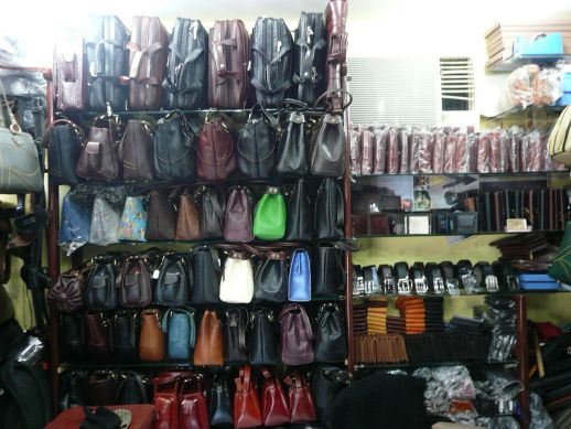 Display in a leather shop of Dharavi