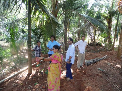 Sunita, her house and newly planted coconut grove and vegetable garden.  (with Rahul, Jai, Matias and Bharat behind the camera) in Kajarghati (Ratnargiri)