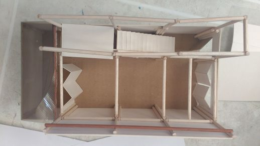 Working model with movable parts to explore different floor configurations
