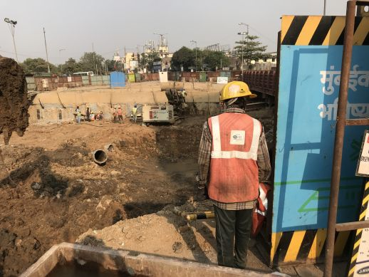 Construction of the Metro line in Dharavi
