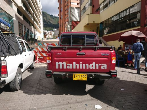 A Mahindra Pickup up truck in the parking