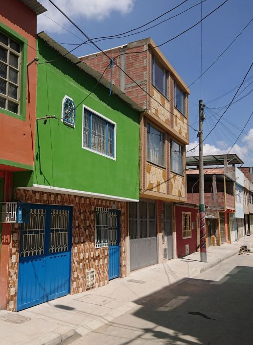 A street in a homegrown settlement of Bogota, Colombia