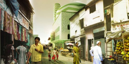 Street view of Marc Hood's proposed design for the mosque. Click for more views.