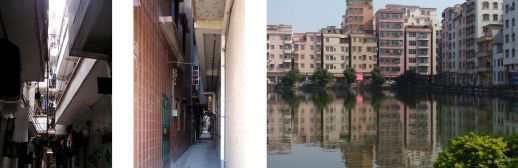 The dark side of urban villages: handshake buildings in Shipai Cun (2006) and Xinxi Cun (2013, International Urban Design Workshop organized by SCUT and UC Berkeley); skyline in Xiasha Cun (2013)