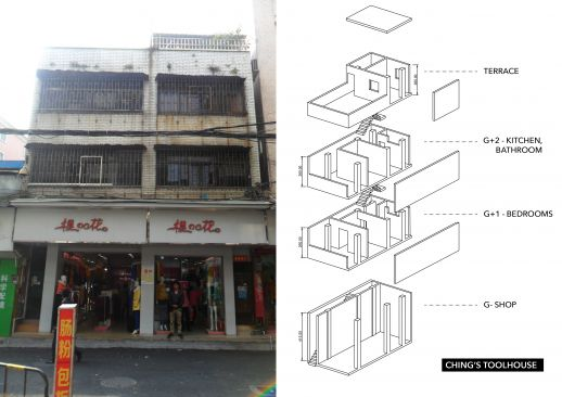 Ching's house: This tool-house built about 30 years ago combines residential and  income-generating functions. The shop is a little over 30 m2. Above are two and a half  floors with a terrace for residential purposes that cover a little less than 80 m2.