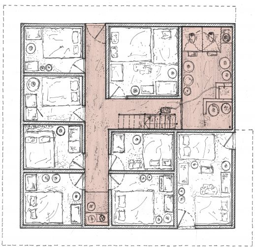 The ground floor plan of Selim's house, a multi-generational residence