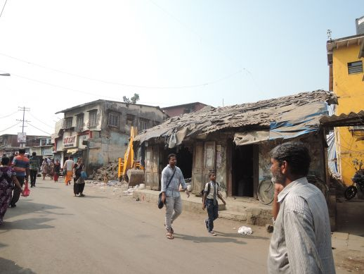 Partially demolished shops in Dharavi Koliwada