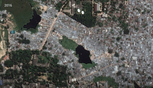 Evolution of the urban form in Karail, Dhaka from 2001-2018.